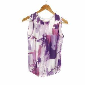 Armani Collezioni Abstract Watercolor Silk Blouse